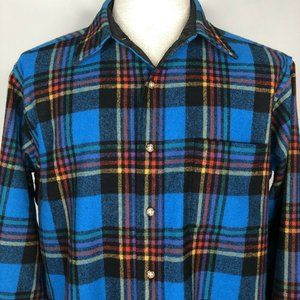 Pendleton Plaid Shirt Turquoise Blue Virgin Wool L